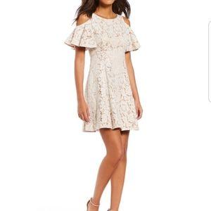 Eliza j lace cold shoulder dress flutter sleeve